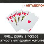 Флеш рояль в покере, вероятность выпадения комбинации
