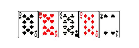 Каре - комбинация в покере десятки