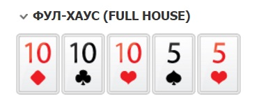 ФУЛ-ХАУС комбинации покера по старшинству