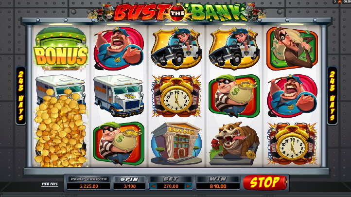 Структура игрового автомата и символика Bust the Bank